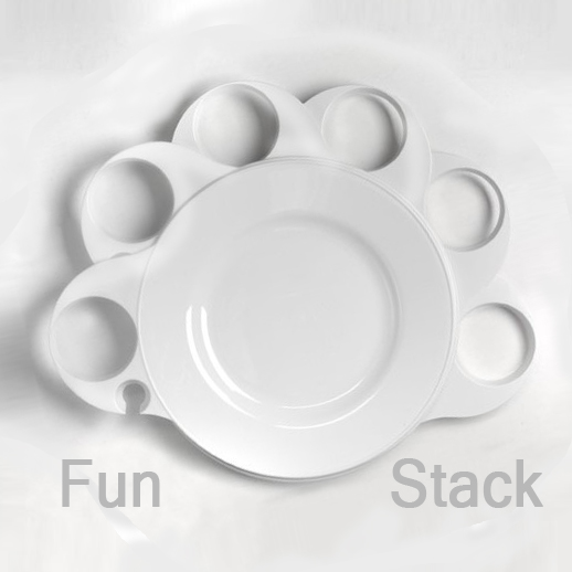 Create different fun ways to stack your plates! Start a swirl and just keep going.