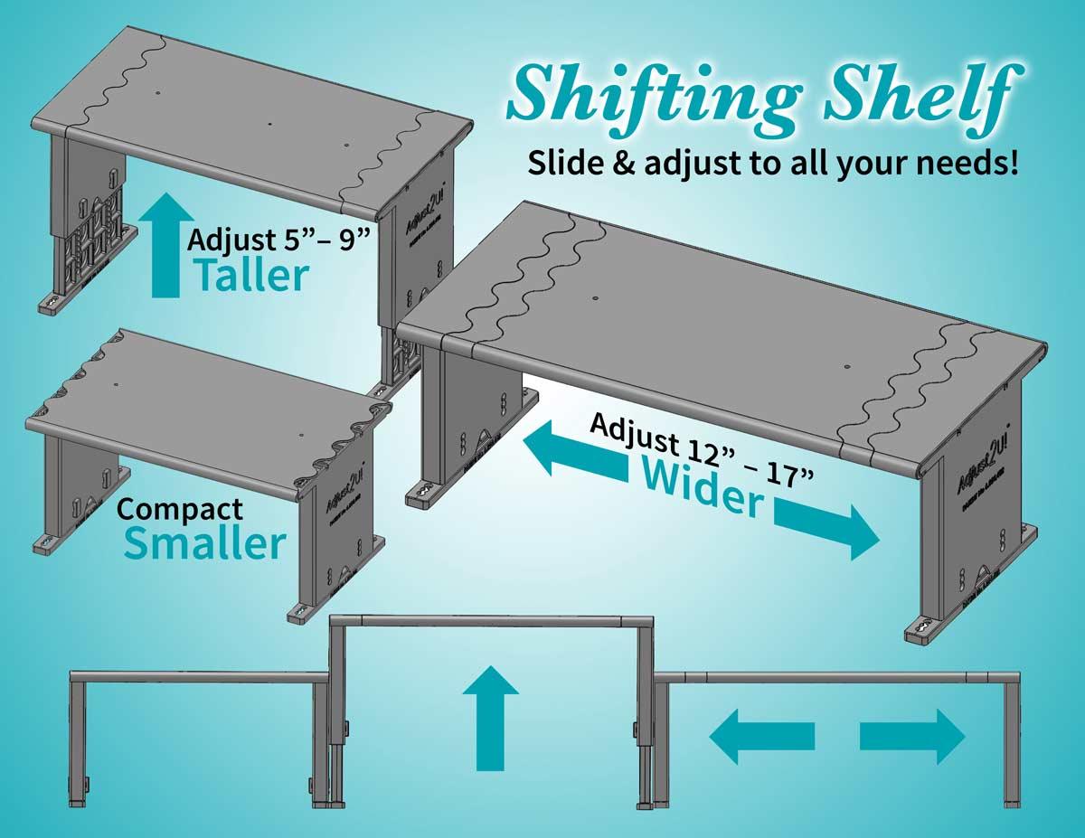 The completely adjustable shelf.