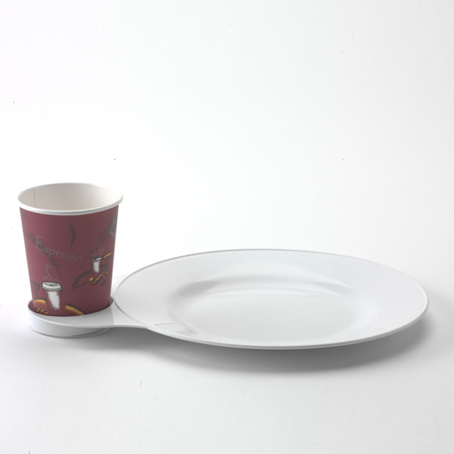 Coffee cup with plate. Great for conferences when coffee food items are being served. The Practical Plate is like a tray plate. & Practical Plate Box of 6 | dubiinc.com